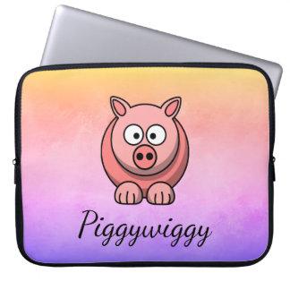 Housse Pour Ordinateur Portable PiggyWiggy peu de porcelet mignon en pastel de