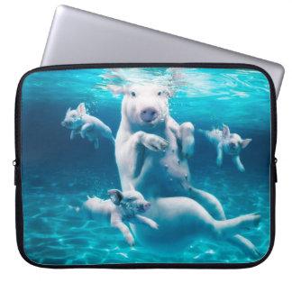 Housse Pour Ordinateur Portable Plage de porc - porcs de natation - porc drôle