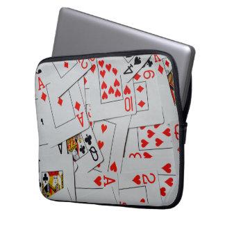 Housse Pour Ordinateur Portable Plate-forme de motif dispersé de cartes de jeu,