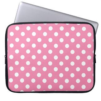 Housse Pour Ordinateur Portable Point de polka rose et blanc