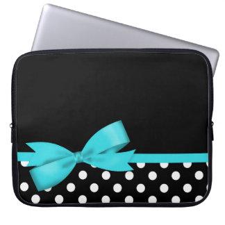 Housse Pour Ordinateur Portable Pois noir et blanc d'arc bleu turquoise