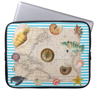 Housse Pour Ordinateur Portable Rayures bleues de trésor marin