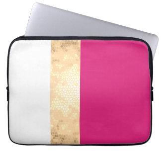 Housse Pour Ordinateur Portable rayures claires élégantes de blanc de rose d'or de