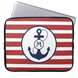 Housse Pour Ordinateur Portable Rayures rouges avec l'ancre et le monogramme