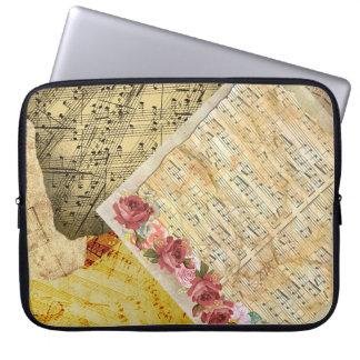 Housse Pour Ordinateur Portable Roses vintages et cas de musique de feuille de