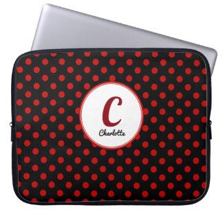 Housse Pour Ordinateur Portable Rouge fait sur commande de point de polka avec