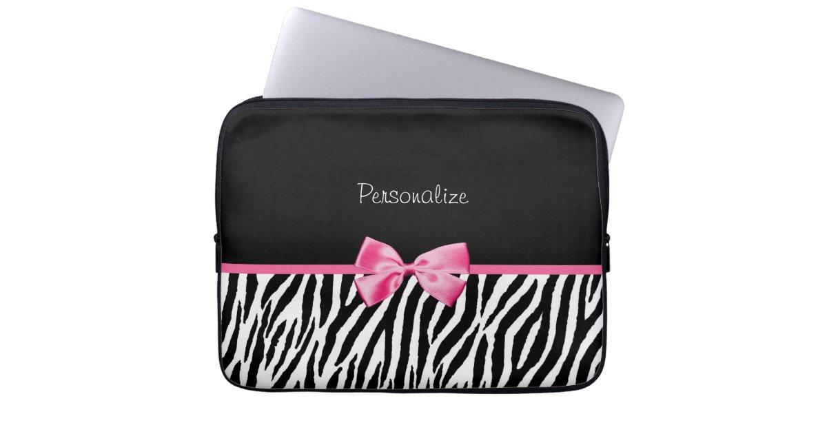 housse pour ordinateur portable ruban noir et blanc la mode de rose d 39 impression. Black Bedroom Furniture Sets. Home Design Ideas
