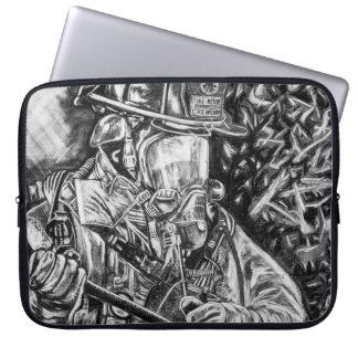 Housse Pour Ordinateur Portable Sapeur-pompier - courage - dessin de fusain