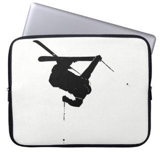 Housse Pour Ordinateur Portable Skieur noir et blanc