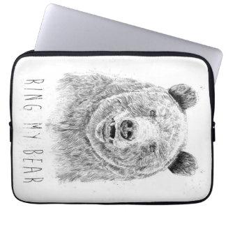 Housse Pour Ordinateur Portable Sonnez mon ours (bw)