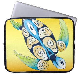 Housse Pour Ordinateur Portable Tortue de mer sur le jaune