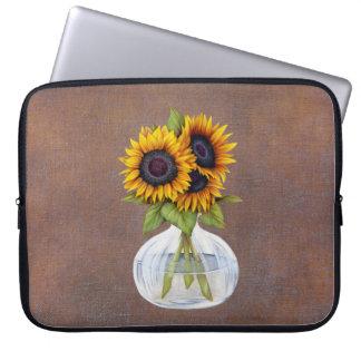 Housse Pour Ordinateur Portable Vase de tournesols sur Brown rustique
