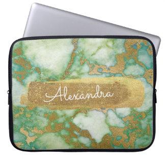 Housse Pour Ordinateur Portable Vert et marbre avec la feuille d'or et les parties