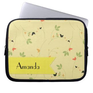 Housse Pour Ordinateur Portable Votre nom - oiseaux, feuille, baies - jaune vert