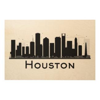 Houston, le Texas horizon noir et blanc de | de Décoration Murale Sur Bois