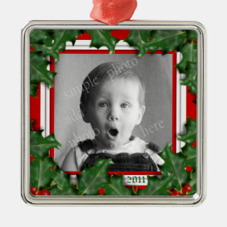 Houx de Noël, cadre de photo, ornement rouge de