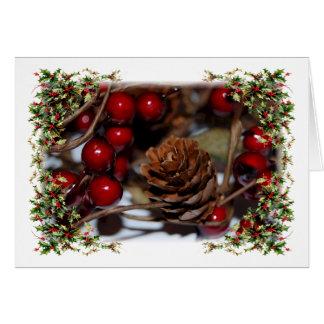 Houx et Pinecone de Noël Carte De Vœux