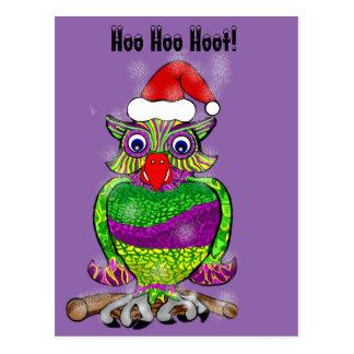 Huée de hibou de Noël de Père Noël Carte Postale