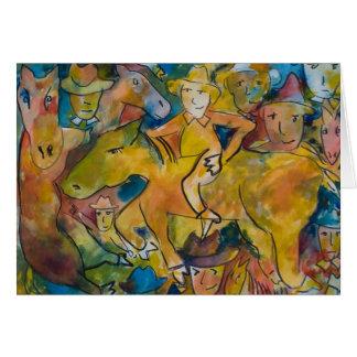 Huée gonflée par jaune et le cheval fâché carte de vœux