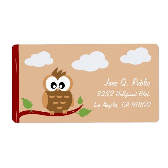 Huée mignonne de hibou WooHoo Étiquette D'expédition
