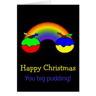 Humeur de Noël de puddings et d'arc-en-ciel de Carte De Vœux