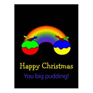 Humeur de Noël de puddings et d'arc-en-ciel de Cartes Postales