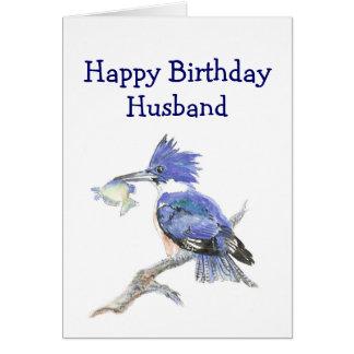 Humour d'anniversaire de mari - le martin-pêcheur carte de vœux