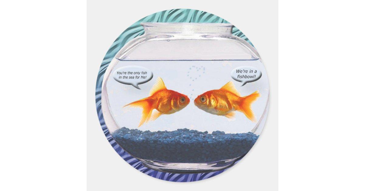 Humour de bocal poissons de poisson rouge sticker rond for Deco bocal poisson