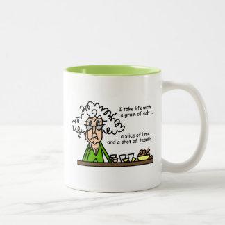 Humour de la vie et de tequila mug bicolore