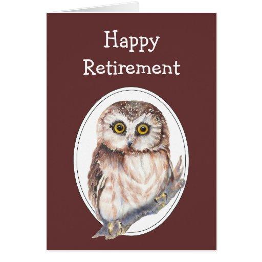 Humour de retraite avec le hibou mignon d'aquarell cartes