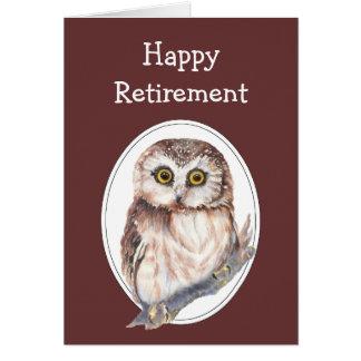 Humour de retraite avec le hibou mignon d'aquarell carte de vœux