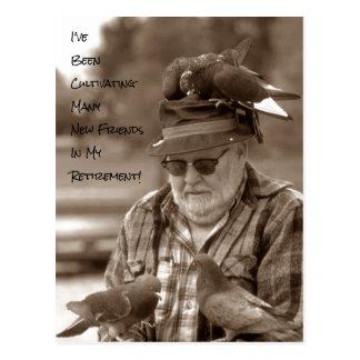 Humour de retraite d'oiseaux de pigeons de cartes carte postale