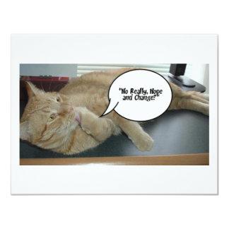 Humour d'espoir et de changement/chat carton d'invitation 10,79 cm x 13,97 cm