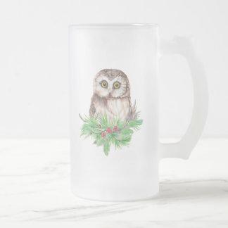 Humour mignon de hibou de Noël, oiseau d'aquarelle Frosted Glass Beer Mug