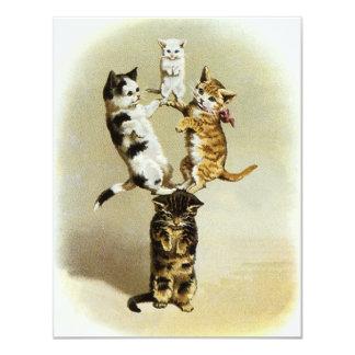 Humour mignon, jeu victorien vintage de chatons de carton d'invitation 10,79 cm x 13,97 cm