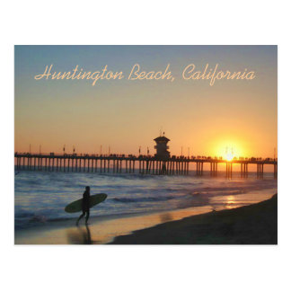 Huntington Beach à la carte postale de coucher du