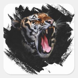 Hurlement de tigre sticker carré