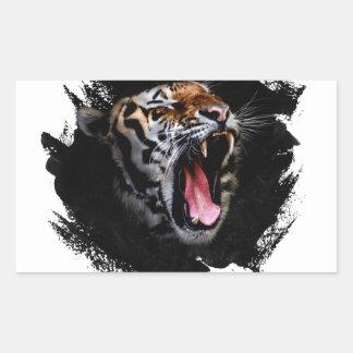 Hurlement de tigre sticker rectangulaire
