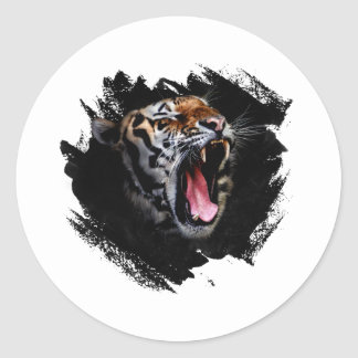 Hurlement de tigre sticker rond