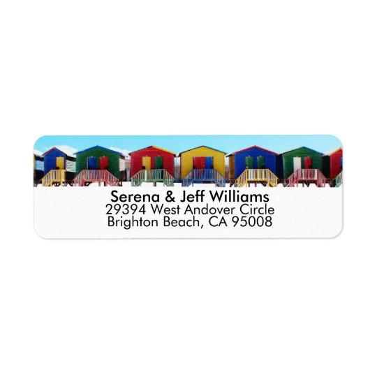 Huttes colorées de Chambre de plage Étiquette D'adresse Retour