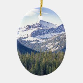 Hyalite fait une pointe Bozeman, Montana Ornement Ovale En Céramique