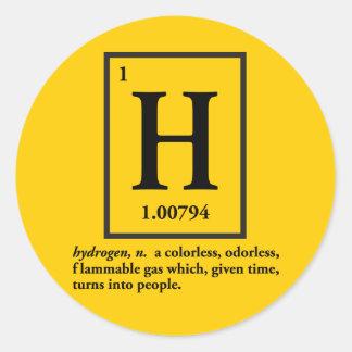 hydrogène - un gaz qui se transforme en personnes sticker rond