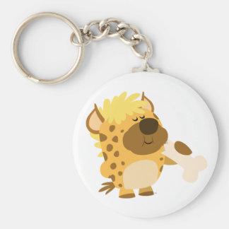 Hyène repérée par bande dessinée mignonne écrasant porte-clé rond