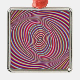 Hypnose au néon ornement carré argenté