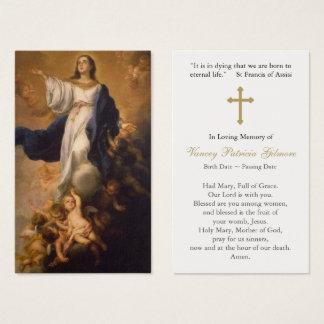 Hypothèse funèbre Mary de carte de prière avec la