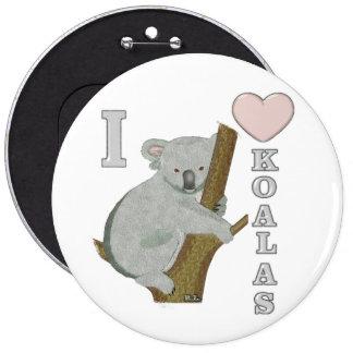 I animaux brouillés de koala de coeur badge rond 15,2 cm