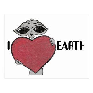 I carte postale d'alien de la terre d'amour de