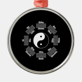 I ching ornement rond argenté