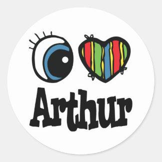 I coeur (amour) Arthur Sticker Rond