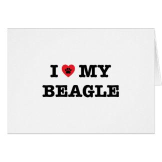 I coeur ma carte de voeux de beagle